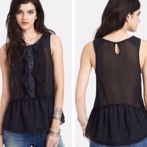 Free People Paint the Town Sheer Ruffle Black Top